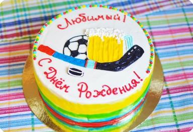 Торт для любителя пива, футбола и хоккея