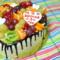 Торт в форме сердца, с фруктами
