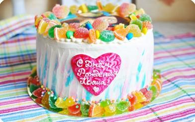 Торт c мармеладом и съедобной картинкой