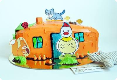 Торт в виде морковного домика-2