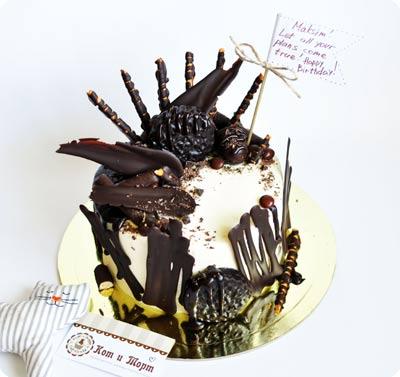 Брутальный торт с шоколадными «перьями»-2