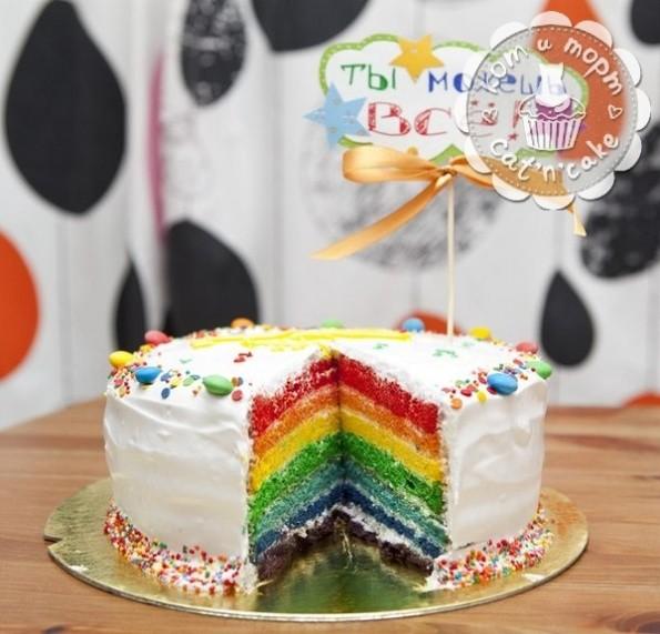 Радужный торт в разрезе