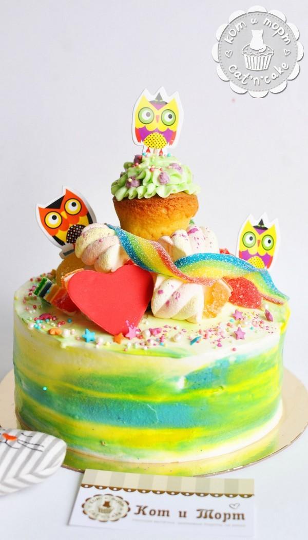 Торт с совами и закрученной радугой