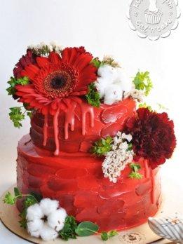Свадебный красно-бордовый торт