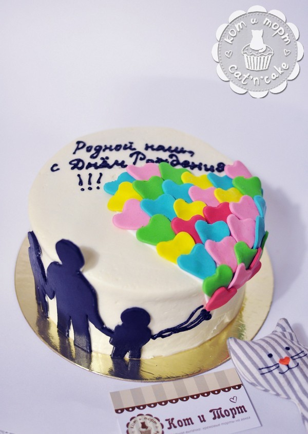 Торт с шариками-сердцами