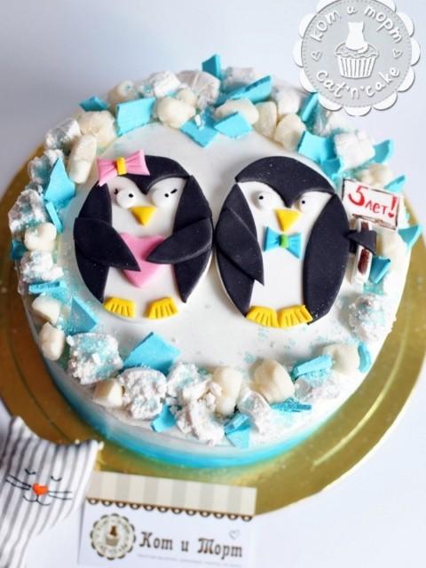Торт «Пингвины любви»