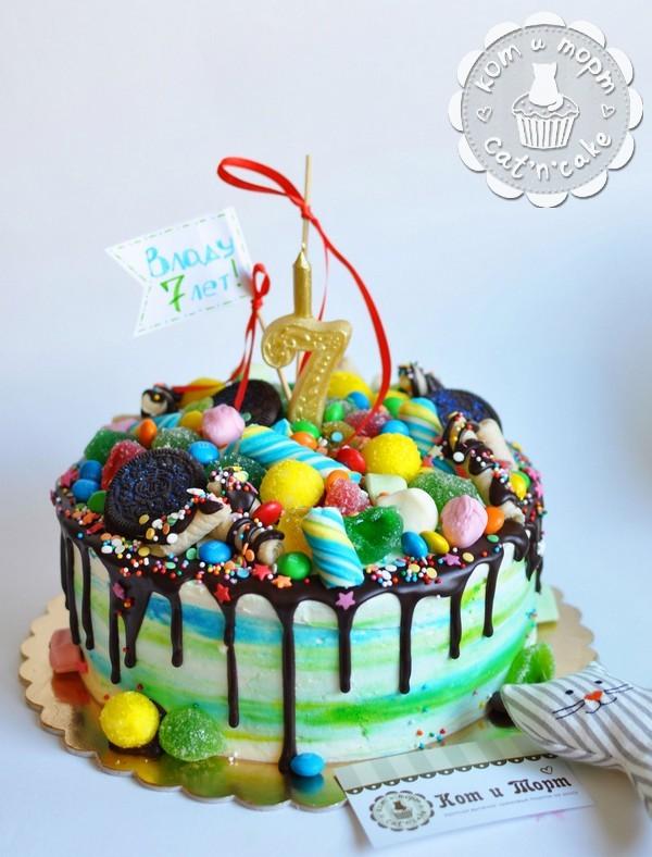 Торт с шоколадными подтёками