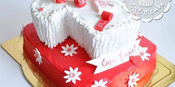 Красно-белый двухъярусный торт