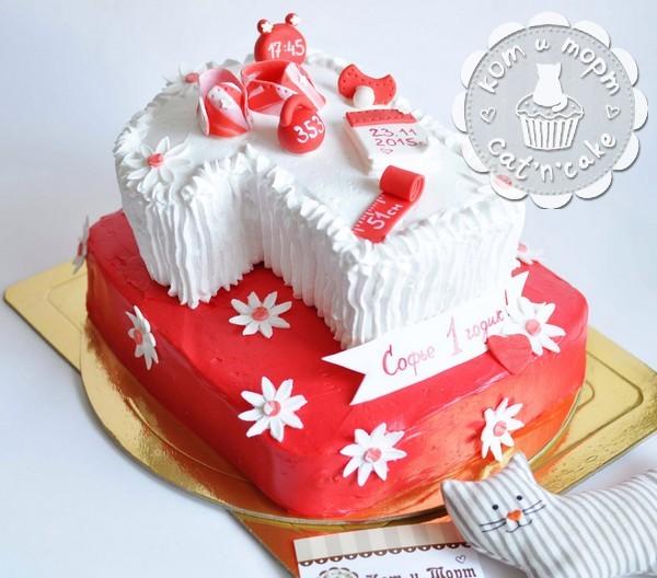 Красно-белый двухъярусный торт на годик