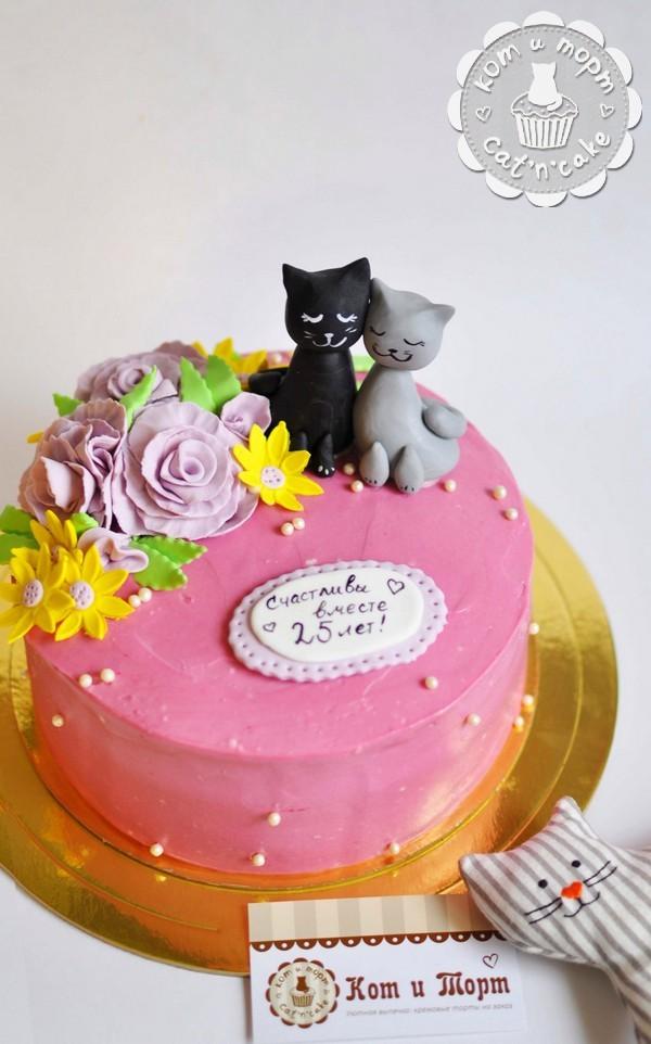 Торт с котиками на 25-летие свадьбы