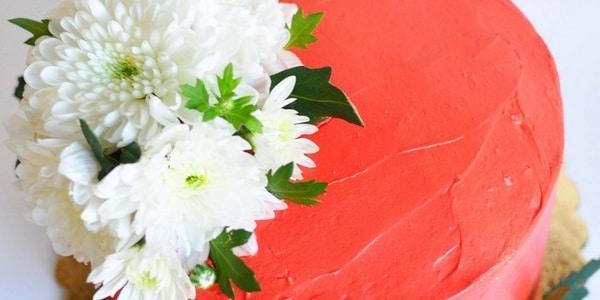Красный торт с белыми хризантемами