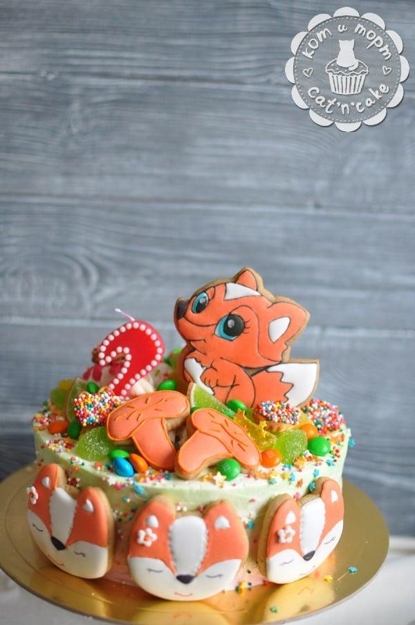 Торт с лисичками