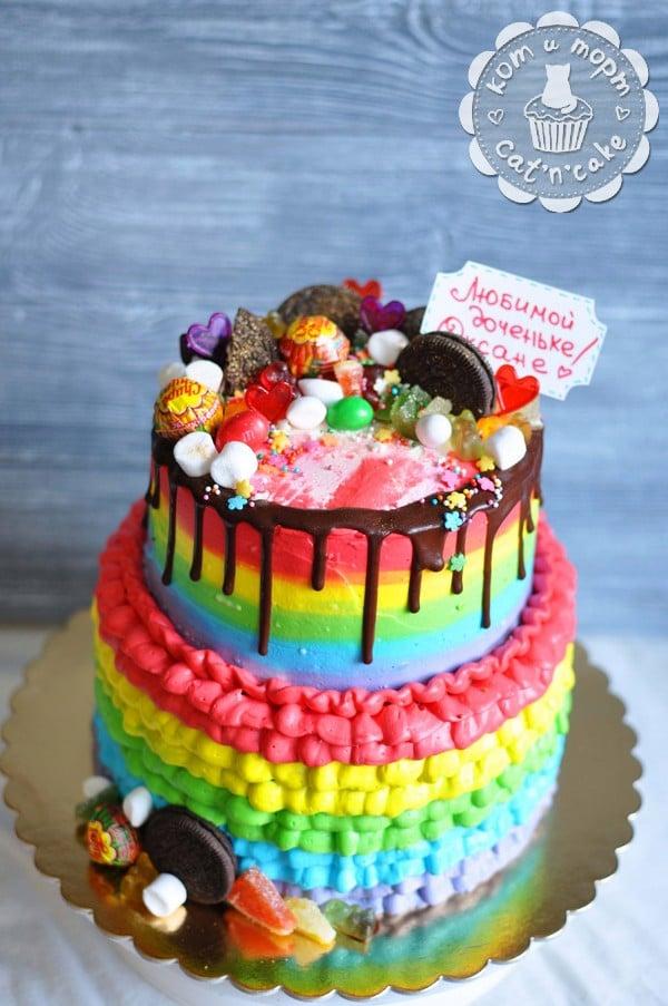 Двухъярусный торт для дочери