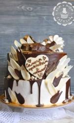 Торт с шоколадными перьями