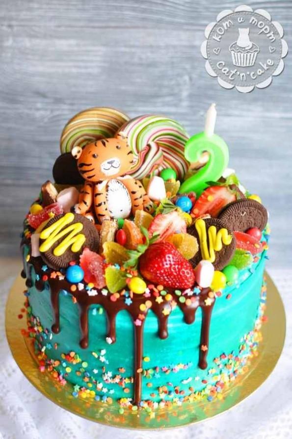 Торт с тигрёнком в сладких джунглях