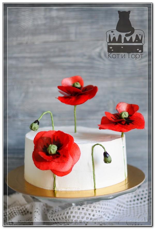 Торт с красными маками