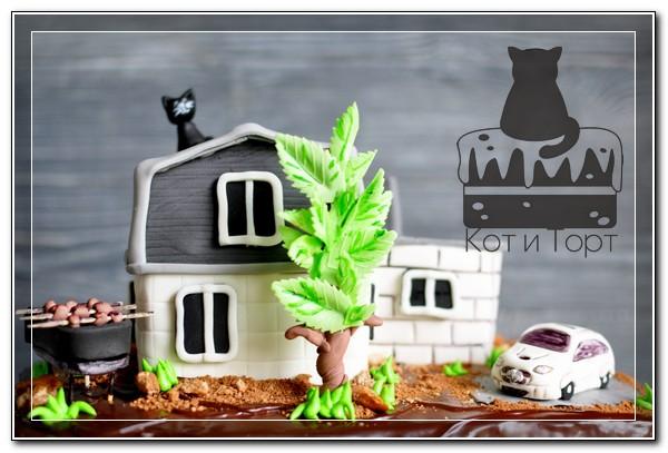 Торт с домом, мангалом и машиной