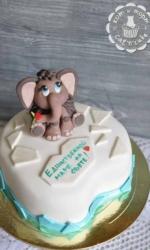Торт с мамонтёнком на льдине