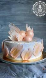 Торт с шоколадными пёрышками и шарами