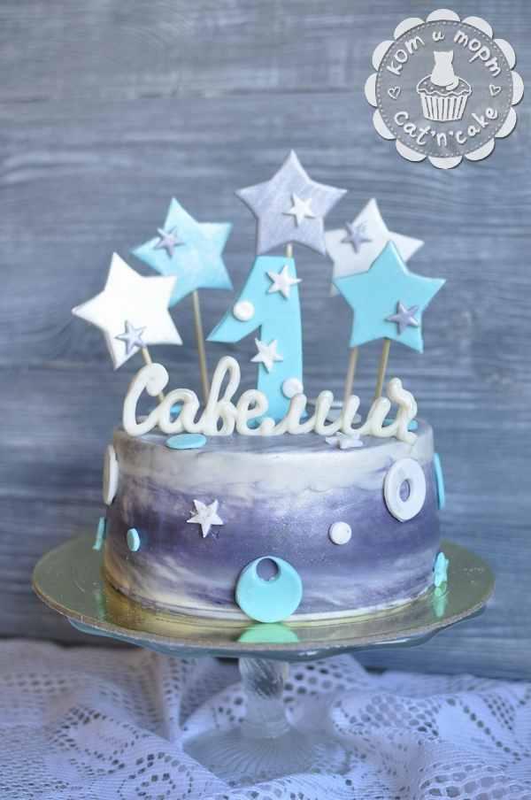 Серо-голубой торт