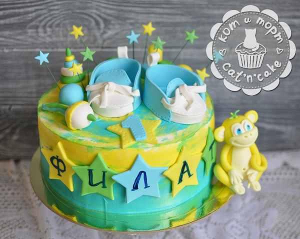 Детский торт с обезьянкой