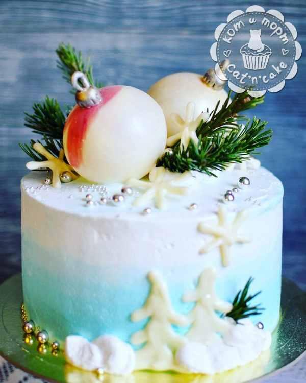 Бирюзово-белый торт с шоколадными шарами