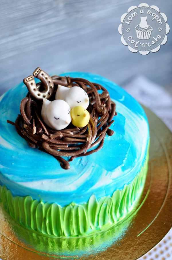 Торт с подковой, гнёздышком и птичьим семейством