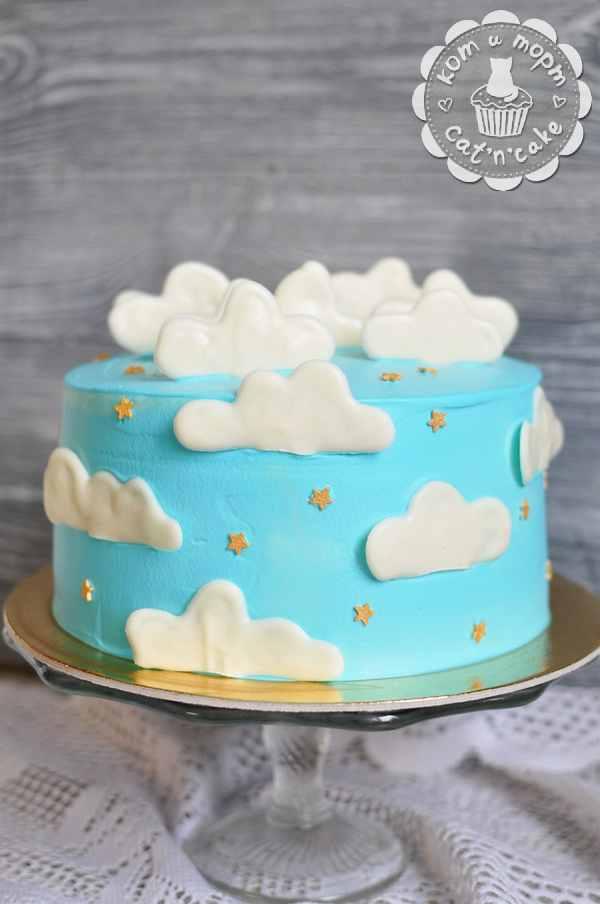 Торт с облаками и звёздами