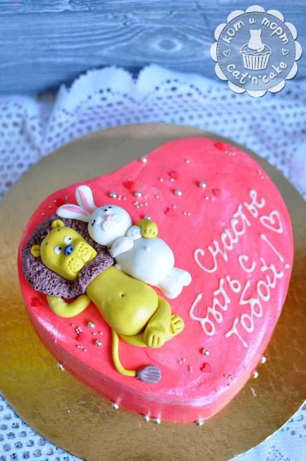 Торт со львом и зайчиком
