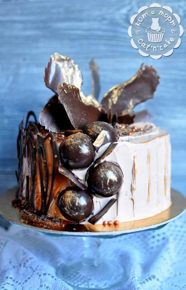 Торт с шоколадными перьями и шарами