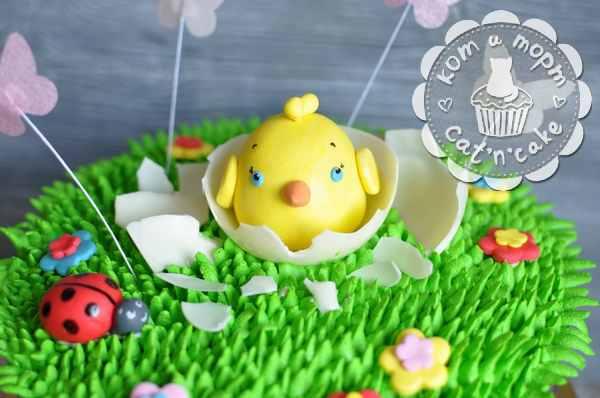 Торт-лужайка с жёлтым птенчиком
