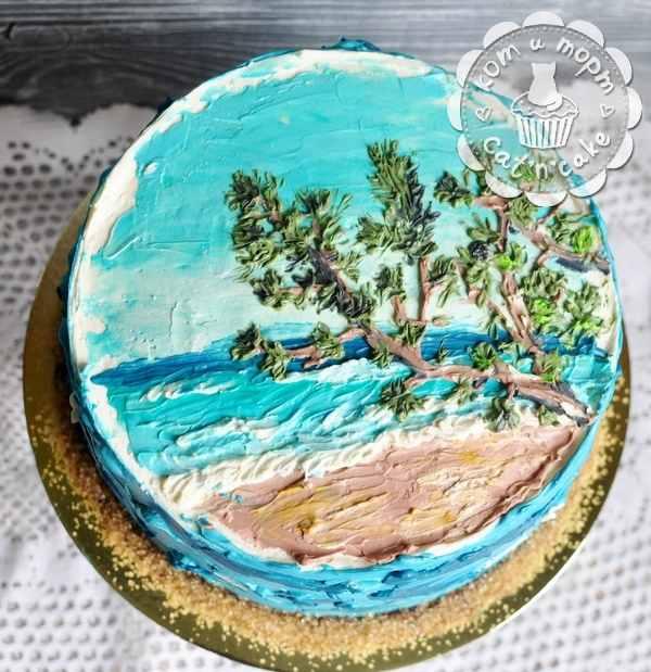 Торт с пейзажным рисунком
