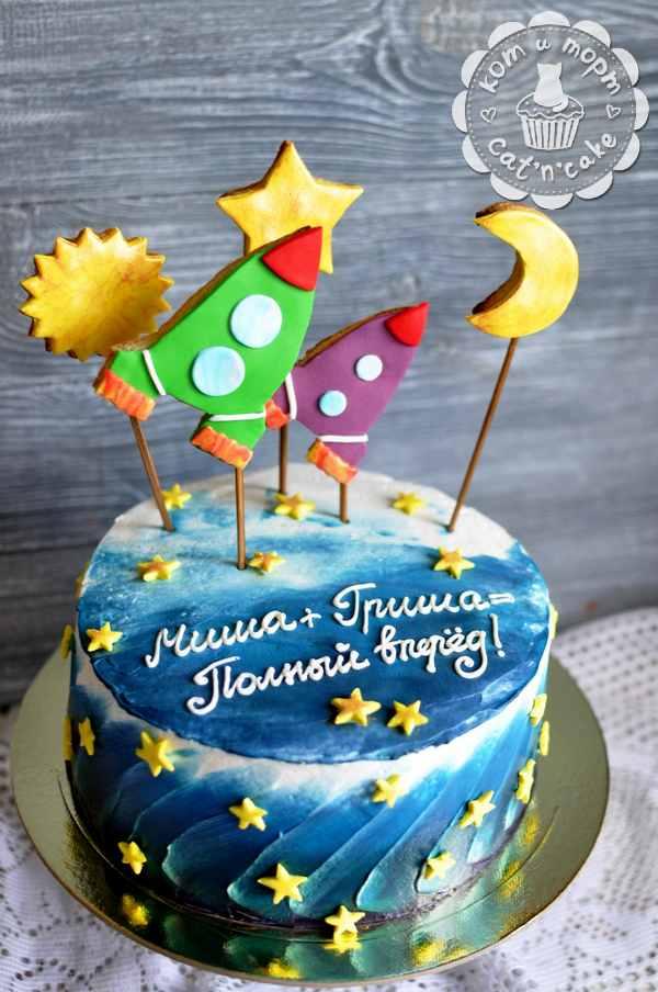 Торт с двумя ракетами