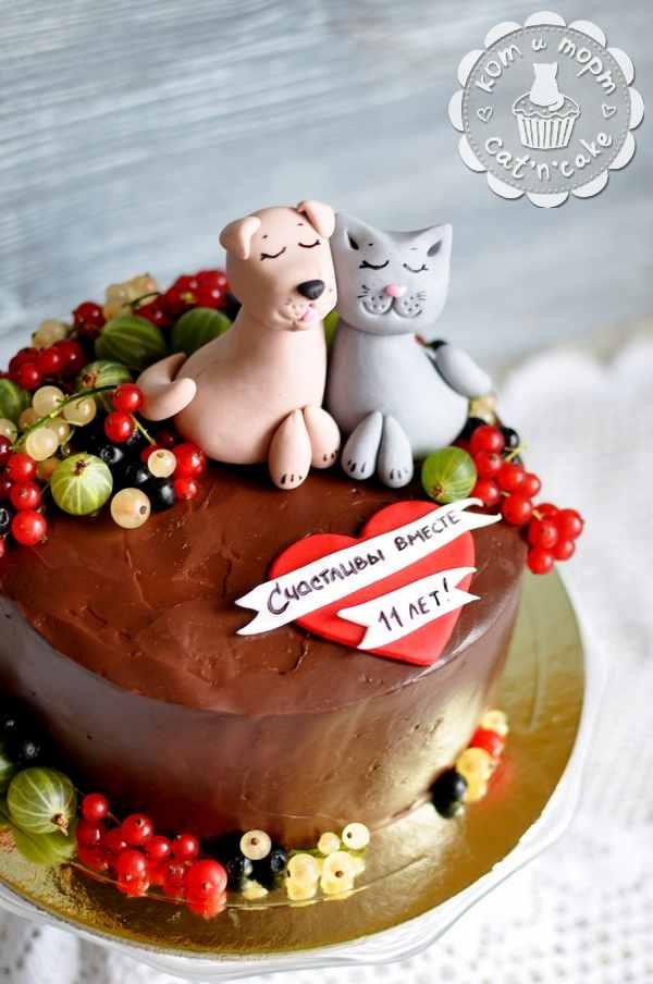 Торт с котиком и собачкой