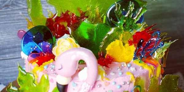 Красивейший торт с фламинго и карамелью