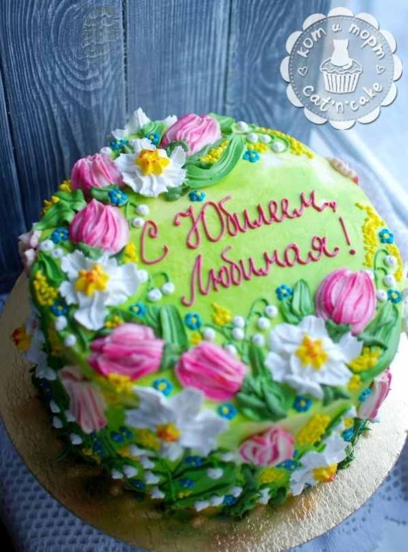 Весенне-летний торт с цветами