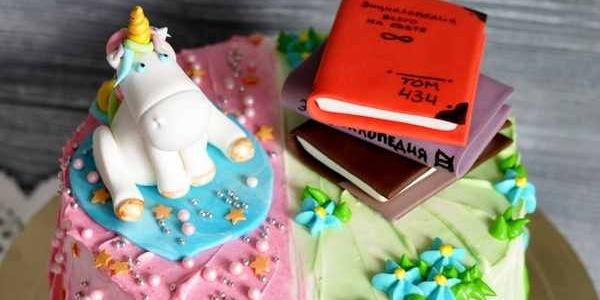 Торт с единорогом и книгами
