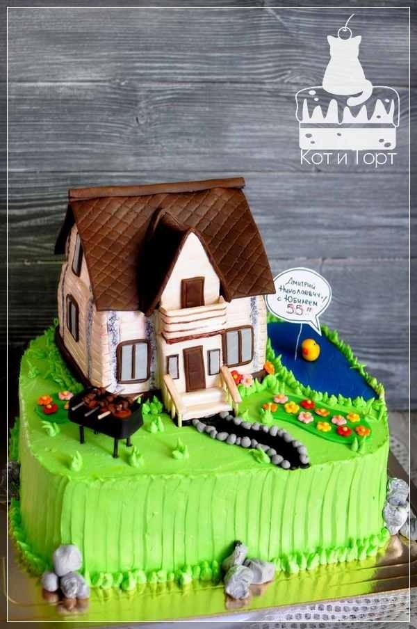 Торт с домиком, прудом и мангалом с шашлыками