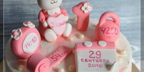 Розовый торт-метрика с зайчиком