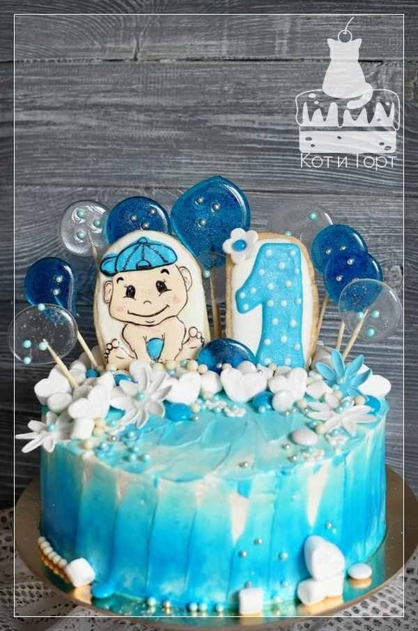 Голубой торт на годовщину для мальчика