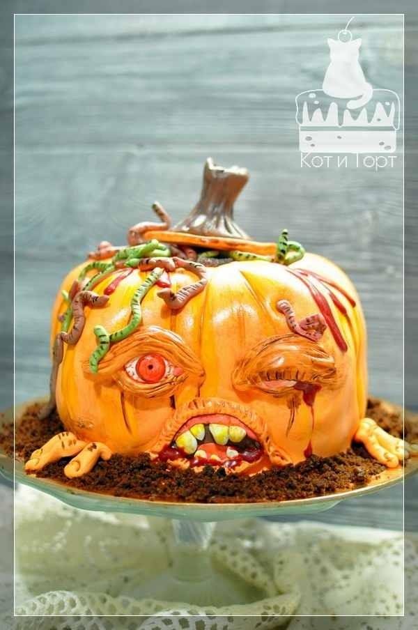 Торт-страшная тыква на Хэллоуин