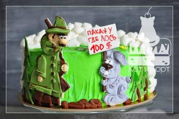 Торт с охотником и зайцем