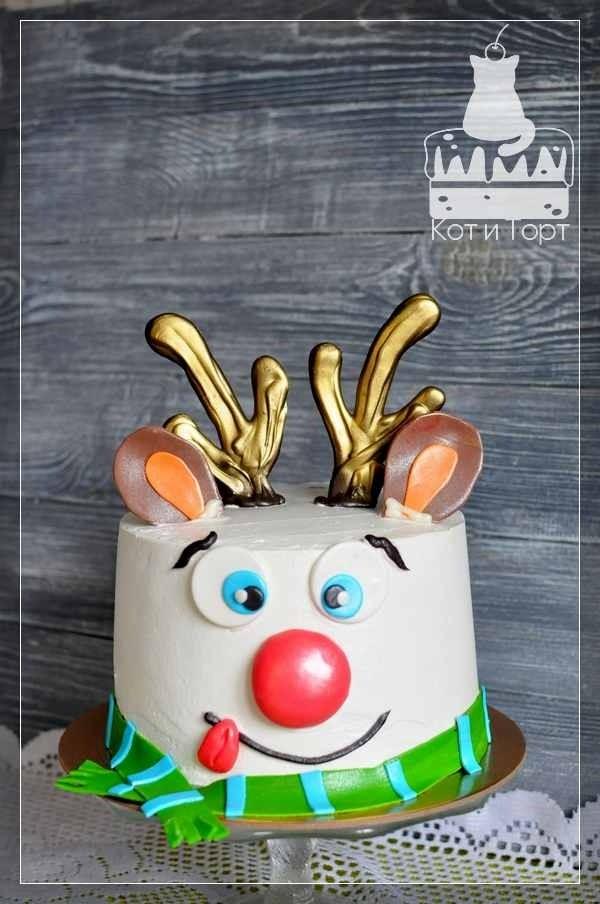 Новогодний торт с оленем