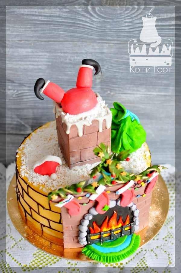 Новогодний торт Санта в трубе
