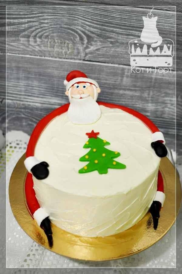 Новогодний торт Санта с ёлочкой