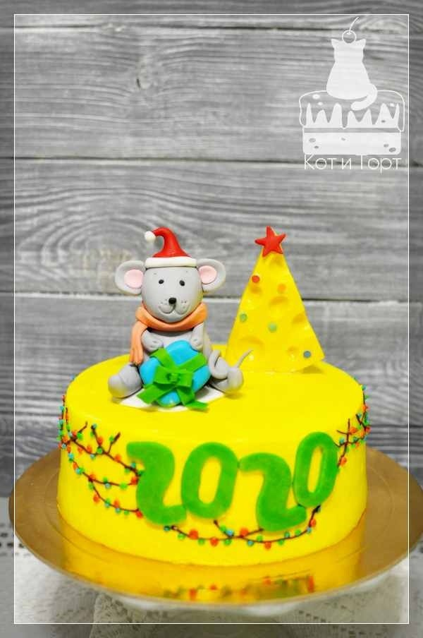 Новогодний торт Мышь с сыром-ёлочкой