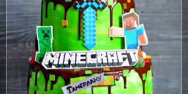 Двухъярусный торт Minecraft для Тамерлана