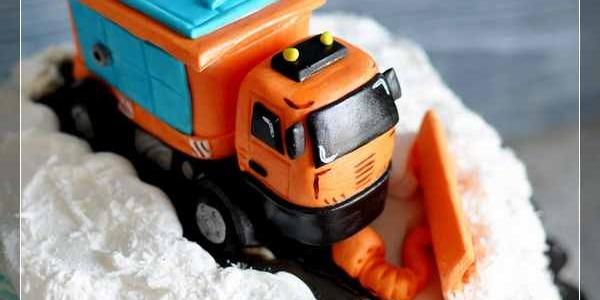 Торт со снегоуборочной машиной