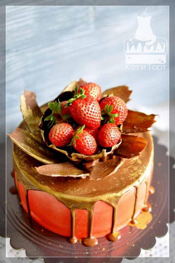 Торт с шоколадными перьями и клубникой