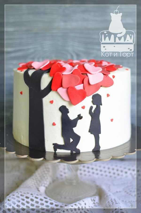 Торт для предложения руки и сердца